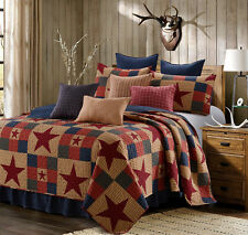 MOUNTAIN CABIN RED 3pc King QUILT SET : NINEPATCH STARS PRIMITIVE COUNTRY