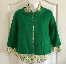 Ann Taylor Petite & AT Loft Lot (2) Green Cardigan & Floral Fitted Blouse ~ Sz 6