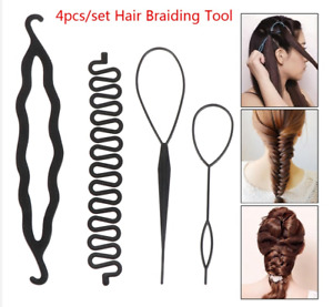 Black Topsy Tail Hair Braid Ponytail Maker Styling Tool Hair Accessories 4pcs