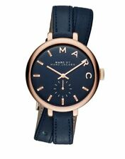 New Marc By Marc Jacobs Watch Sally Double Wrap Rose Gold Blue Leather MBM8662
