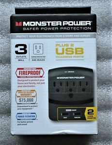 MONSTER POWER PROTECTION  PLUS 2 USB CHARGING PORTS 3 OUTLETS. NEW in BOX!