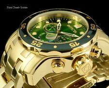 Invicta 48mm ProDiver Gree Dial Scuba Quartz Chronograph 18K GoldPlated Watch 75