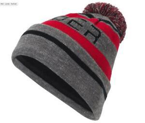 spyder mens icebox hat red black polar colored pom interior fleece lining OSFM