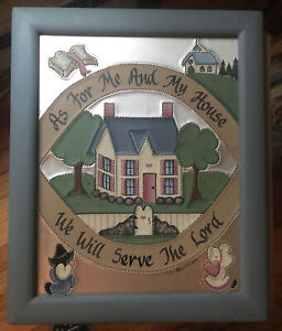 As For Me And My House We Will Serve The Lord Framed Punched Tin Style Handmade