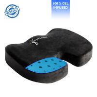 Gel Infused Memory Foam Seat Cushion - Ventilated Design for Pain Relief
