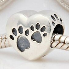 Cat Dog Paw Print Patterned Heart Shape Charm Bead 925 Sterling Silver