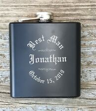 Personalized Best Man Flask Engraved Old English Monogrammed