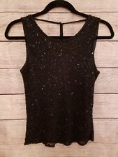 Vintage Scala Silk Evening Black Beaded Cami Top Tank Christmas party Holiday