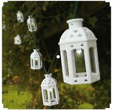 White Moroccan Rustic Lantern Solar Powered Garden LED Outdoor String Lights