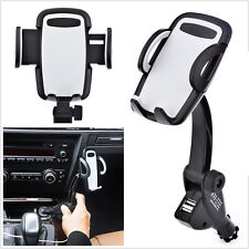 2- USB Car Cigarette Lighter Mobile Phone Stand Mount Holder Charger Universal