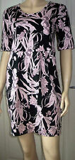 INDULGENCE Black Pink Floral 1/4 Sleeve Knee Length Business Party Dress Size M