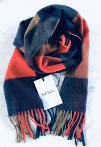 Paul Smith Men Scarf Made In England Cashmere Check Multi