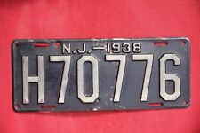 1938  NEW JERSEY License Plate   ***  '38  NJ *** HEAVY DUTY BEAST FROM THE EAST