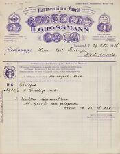 DRESDEN-A., Rechnung 29.10.1908, Nähmaschinen-Fabrik H. Grossmann