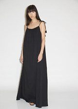 New $990 The Row Dresia Cotton Jersey Maxi Dress in Black sz M