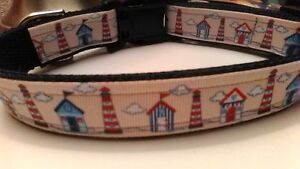 Handmade Lighthouse nautical Adjustable Nylon Dog Collar