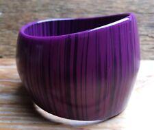 Big Chunky Vintage Style Stripy Bangle/Purple & Black/Retro/Plastic/Statement