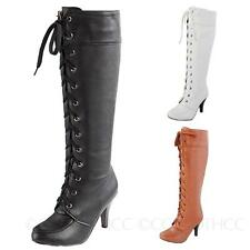 Fashion High Heel Womens Western Combat Shoes knee length lace up Boots Size