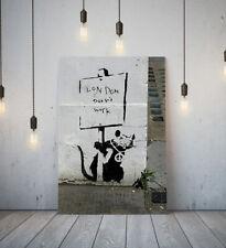 BANKSY LONDON DOESNT WORK RAT-FRAME CANVAS GRAFFITI WALL ART PICTURE PAPER PRINT
