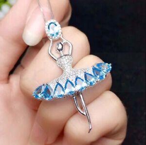3Ct Oval Cut Aquamarine Fairy Princess Angel Pendant For Lady 14K White Gold Fn