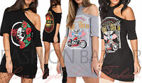 Womans Vintage Legends One Shoulder Born To Be Wild Long TShirt Dress Choker Top