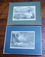 Pair Vtg LA CROSSE Wisconsin 1874 Picturesque America Engraving Prints Framed