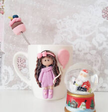 Decorated Girl cupcake mug & spoon set handmade Unique Funny Personalized gift
