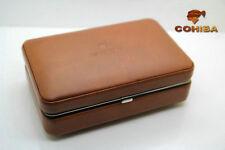 COHIBA Brown Leather Cedar 4 Tube Cigar Travel Case Humidor Lighter Cutter Set