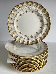 "13pc Lot FLEUR DE LYS Gold SPODE Bone China BREAD PLATES Gold Trim 6 1/4"" MINT"