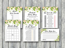 Print Yourself - Peonies Watercolor Bridal Shower Game pack Printable TH01