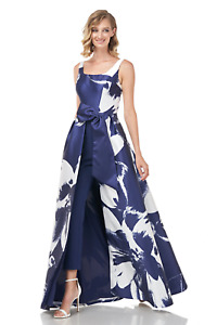 Kay Unger Sophie Floral Print Mikado Jumpsuit with Tapered Leg and Full Skirt 14
