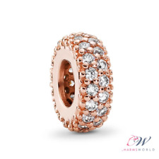 Rose Gold Crystal Pave Spacer Charm Genuine 925 Sterling Silver 💞