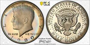 1980-S USA KENNEDY HALF DOLLAR PCGS PR67 D CAM BU UNC ELEGANT TONED COLOR