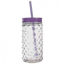 Deluxe Purple Bubble Glass Mason Jar Glass With Straw - 70's Style