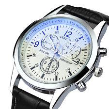 Luxus Herren Uhren Edelstahl Leder Analog Quarz Mode Business Armbanduhr Uhr