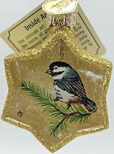 Old World Christmas Inside Art Glass Ornament Bird Chickadee Reverse Painted