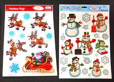 Two sheets of reuseable window clings - snowman, snowflakes, Santa & reindeer