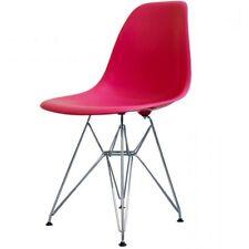 Rosa brillante silla lateral de plástico estilo Eiffel Retro - 4 opciones de pierna/entrega UK LIBRE