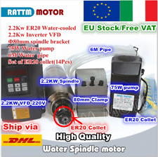 【IT&EU】2.2KW ER20 Water Cooled Spindle Motor+VFD Inverter 220V+Clamp+Pump+Collet