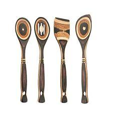 "Island Bamboo 12"" Natural Brown Pakkawood Wooden Spoon & Spatula 4pc Utensil Set"