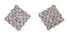 Swarovski Elements Crystal Square Cluster Stud Earrings Rhodium Authentic 7972w