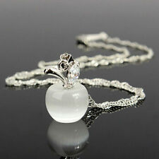 Lovely WHITE OPAL Apple Silver Twist Singapore Chain Pendant Necklace Jewelry