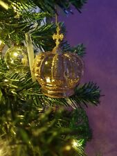 GLITTER gold glass crown bauble
