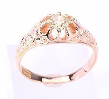 Art Deco Euro cut Diamond Engraved Engagement Ring in 14 Karat Yellow Gold