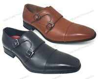 Mens Dress Shoes Monk Strap Slip On Loafers Cap-Toe Leather Lined Casual Oxfords