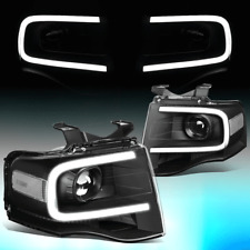 FOR 2007-2014 FORD EXPEDITION 3D LED DRL PROJECTOR HEADLIGHT LAMPS BLACK/CLEAR