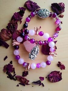 Set of Pink Rose Quartz and Agate Ganesha Stretch Bracelet with Crown