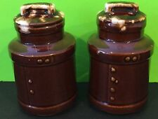 Vintage Brown Drip Glaze Milk Can Salt And Pepper Shakers Usa Collectible
