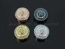 Clear Zircon Gemstone Pave Turquoise Round Bracelet Connector Charm Beads Silver