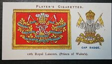 12th Royal Lancers  British Cavalry Regiment     Vintage Insignia Card # VGC